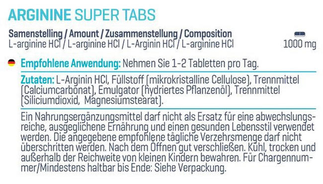 Arginine Super Tabs Nutritional Information 1