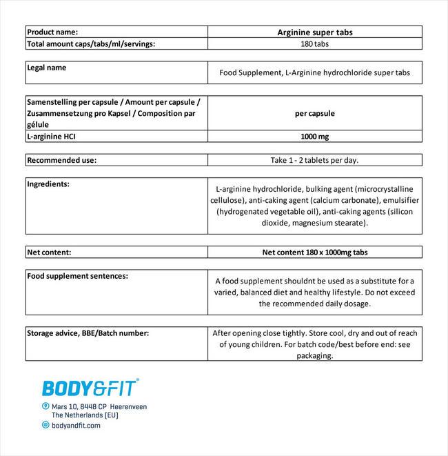 アルギニンスーパータブレット Nutritional Information 1
