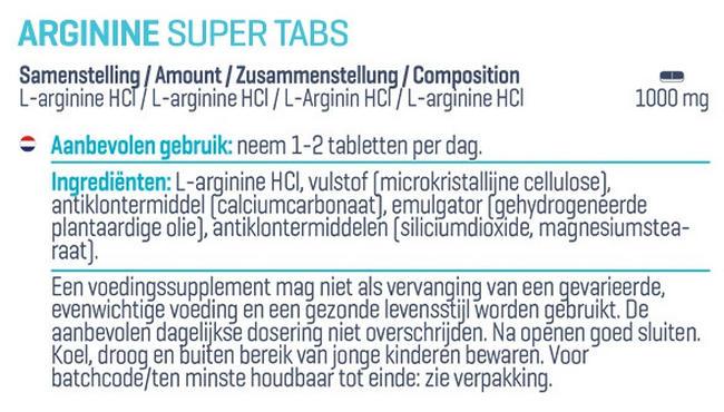 Arginine Super Tabs Nutritional Information 1