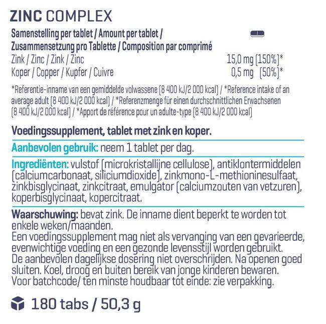 Zinc Complex Nutritional Information 1