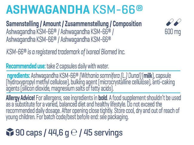 Ashwagandha KSM-66® Nutritional Information 1