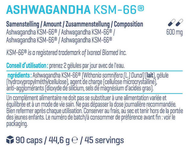 AshwagandhaKSM-66® Nutritional Information 1