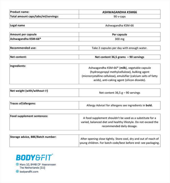アシュワガンダ KSM-66® Nutritional Information 1