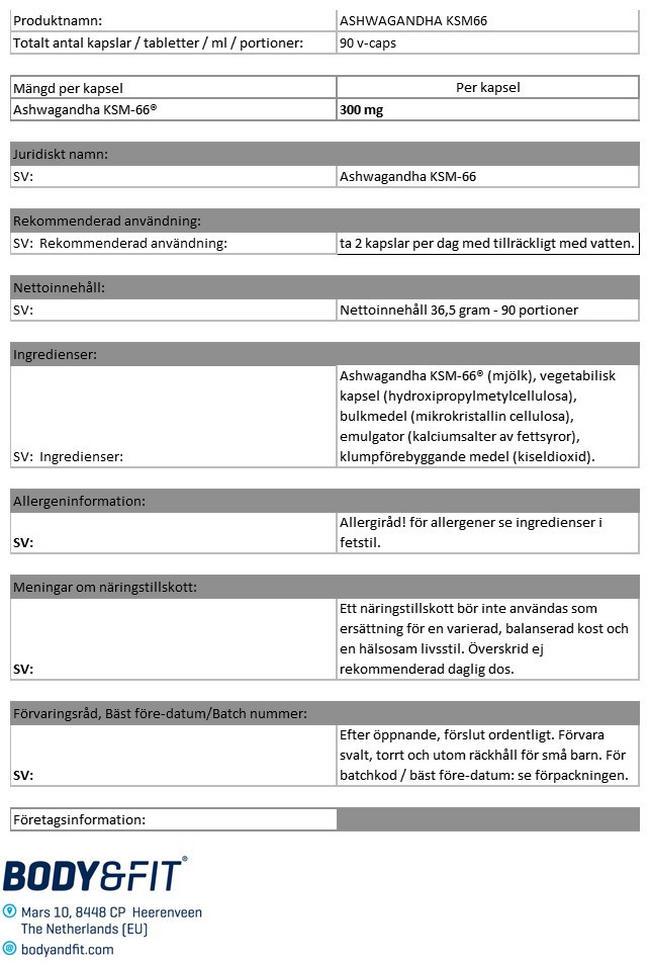 Ashwagandha KSM-66 Nutritional Information 1