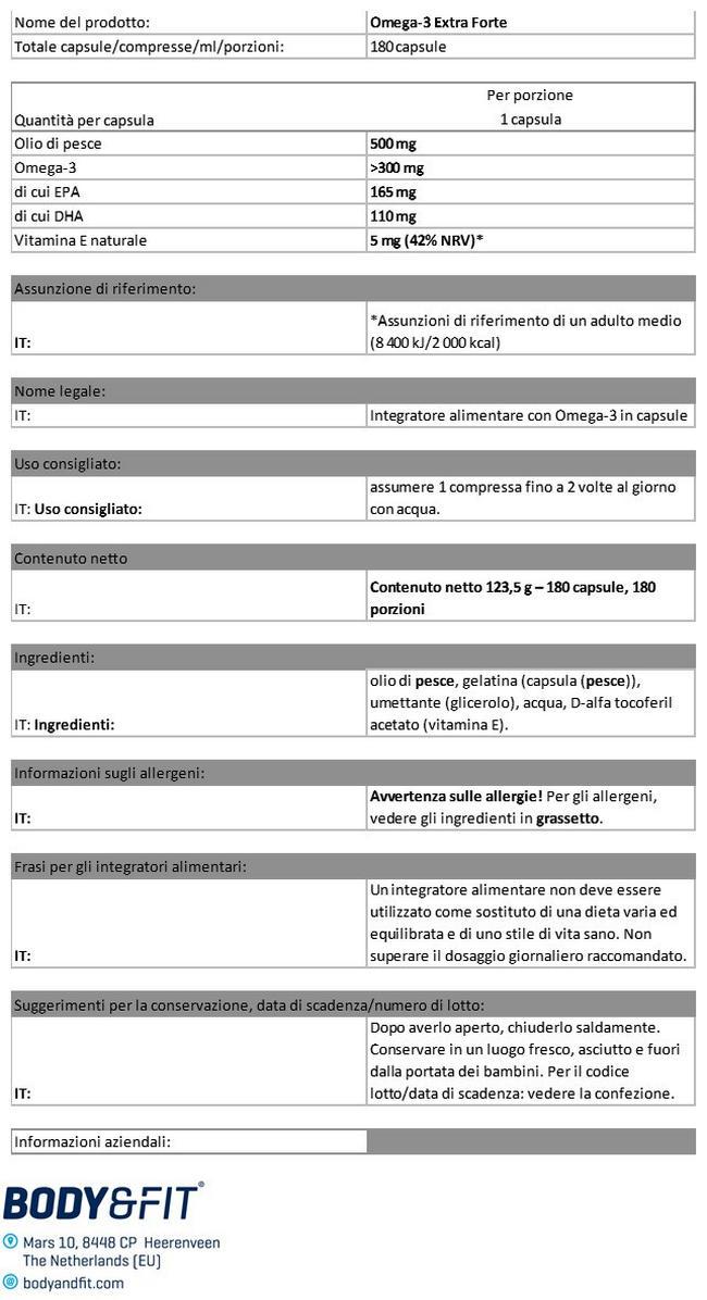Omega 3 Extra Forte Nutritional Information 1