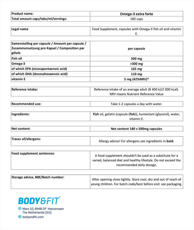 オメガ3 エクストラフォルテ Nutritional Information 1