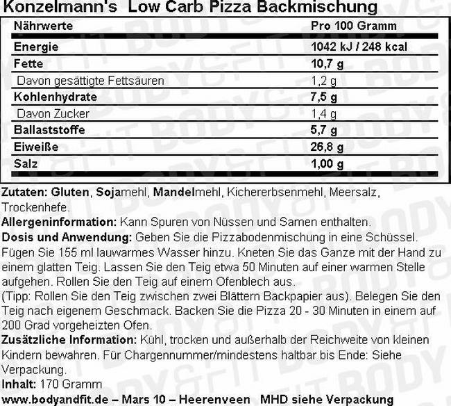 Low Carb Pizzabackmischung Nutritional Information 1