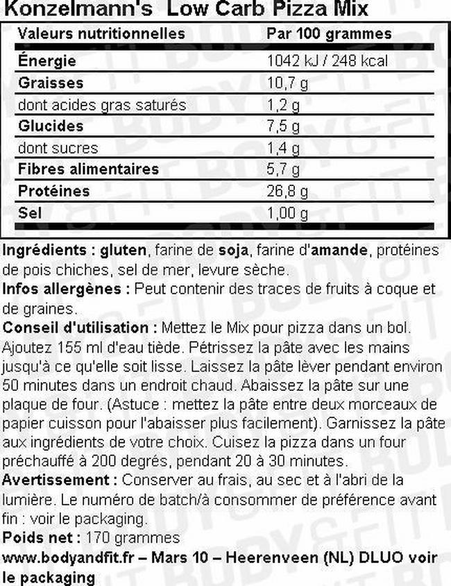 Low Carb Pizza Mix Nutritional Information 1