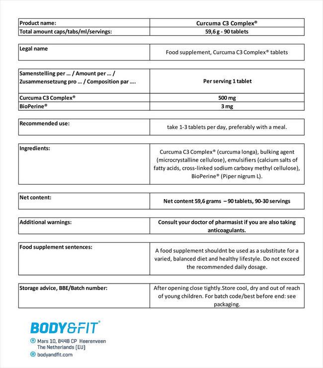 クルクマ C3 コンプレックス Nutritional Information 1