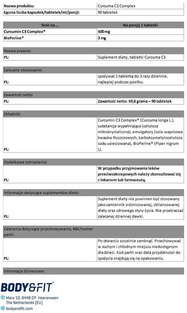 Curcuma C3 Complex Nutritional Information 1