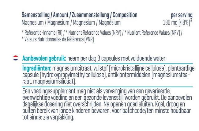Magnesium Citraat Capsules Nutritional Information 1