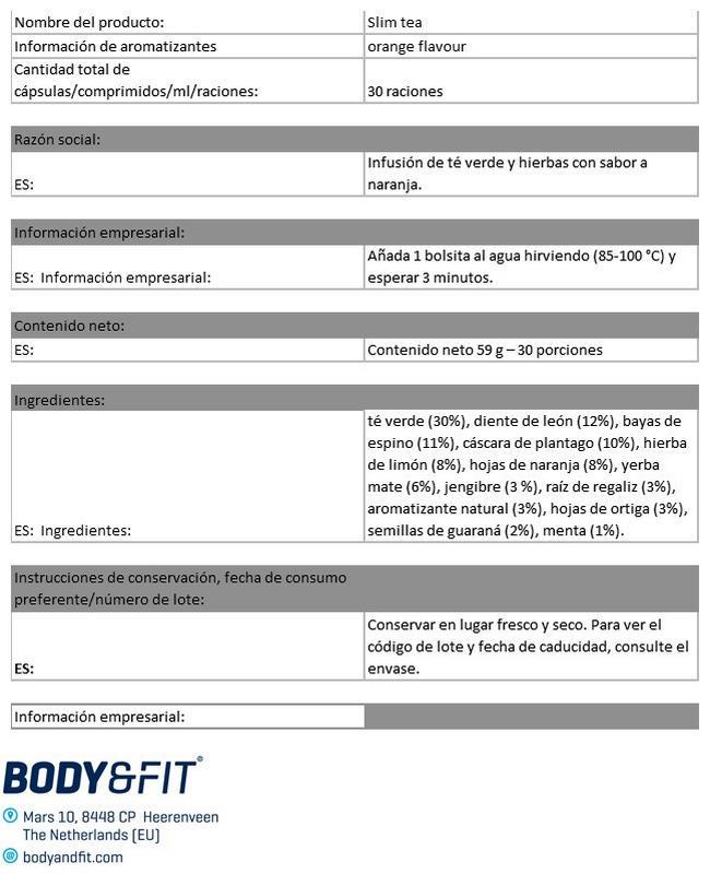 Mezcla de Hierbas Naturales Nutritional Information 1