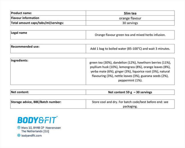슬림 티 Nutritional Information 1