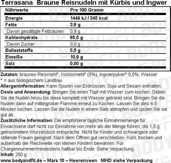Braune Reisnudeln mit Kürbis und Ingwer Nutritional Information 1