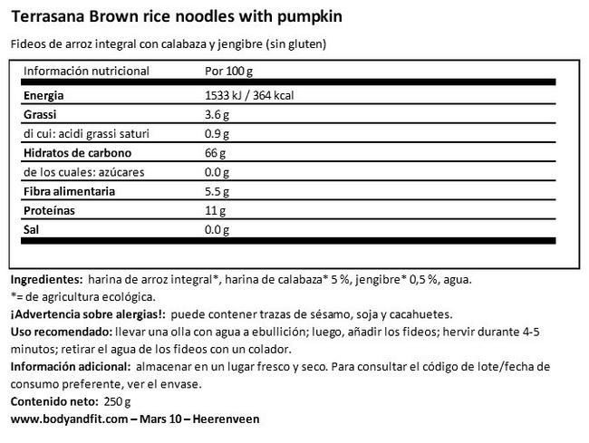 Brown rice noodles with pumpkin and ginger Nutritional Information 1