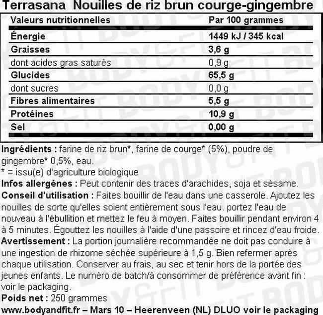 Nouilles de riz brun courge-gingembre Nutritional Information 1