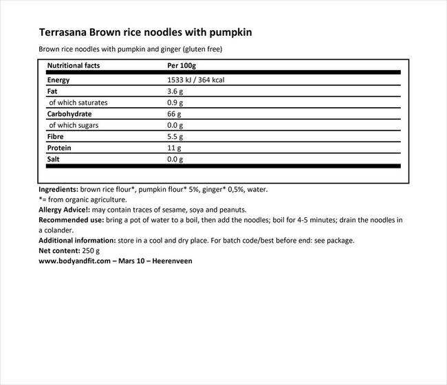 ブラウンライスヌードル - パンプキン&ジンジャー Nutritional Information 1