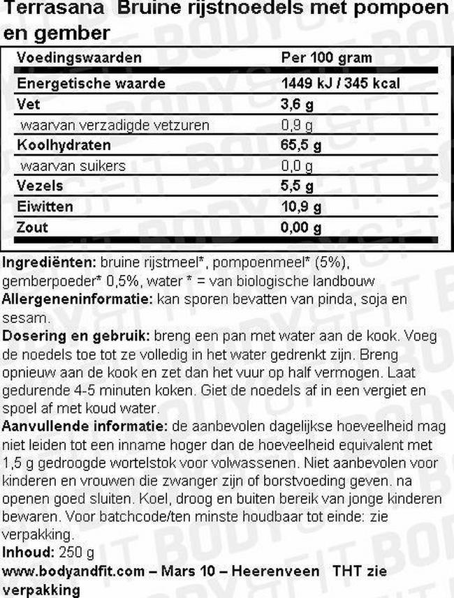 Bruine rijstnoedels met pompoen en gember Nutritional Information 1