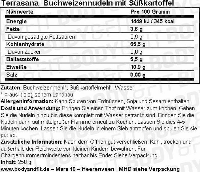 Buchweizennudeln mit Süßkartoffel Nutritional Information 1