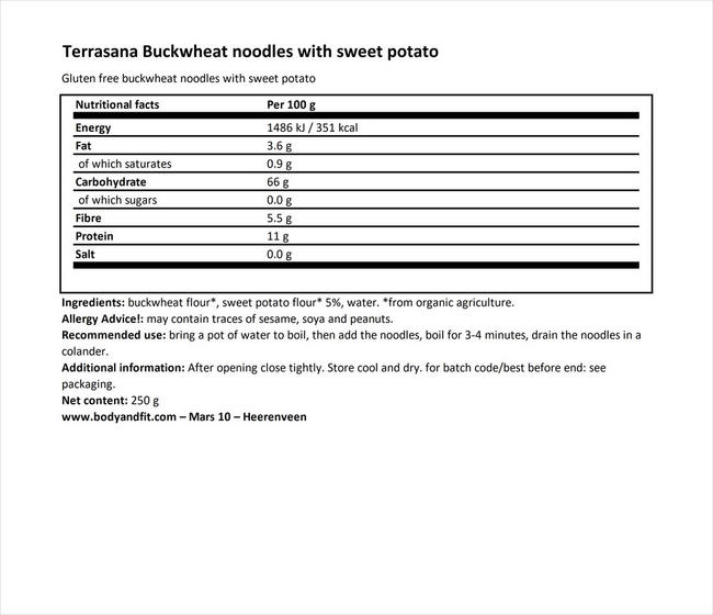 Buckwheat noodles with sweet potato Nutritional Information 1