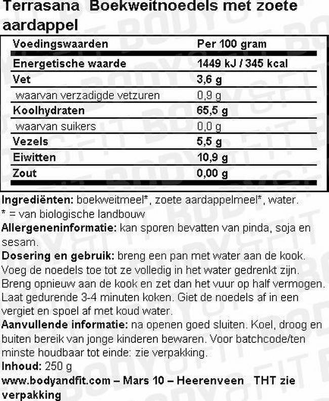 Boekweitnoedels met zoete aardappel Nutritional Information 1