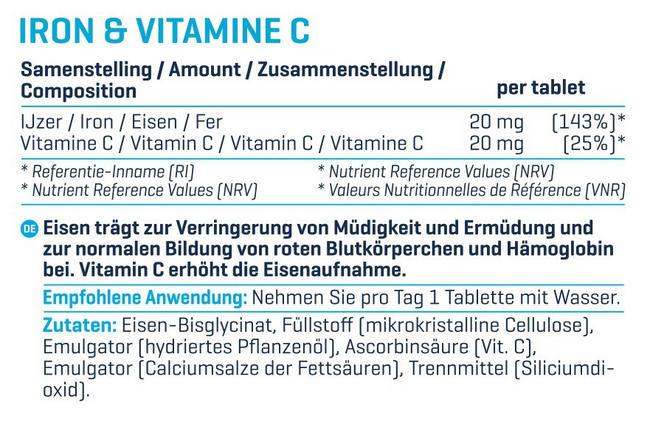 Eisen & Vitamin C Nutritional Information 1