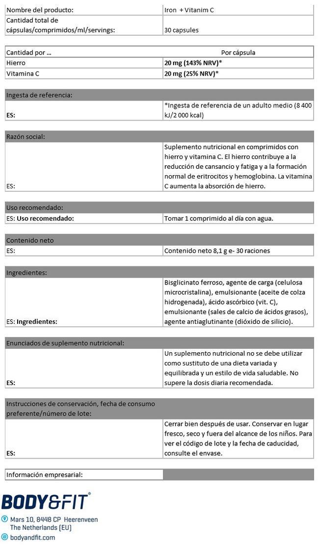 Hierro Y Vitamina C Nutritional Information 1
