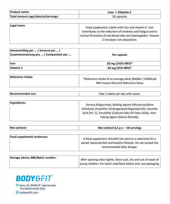 アイロン&ビタミンC Nutritional Information 1