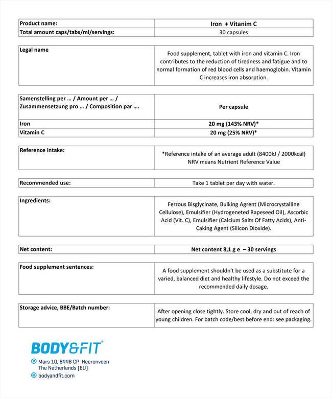 철분 및 비타민 C Nutritional Information 1