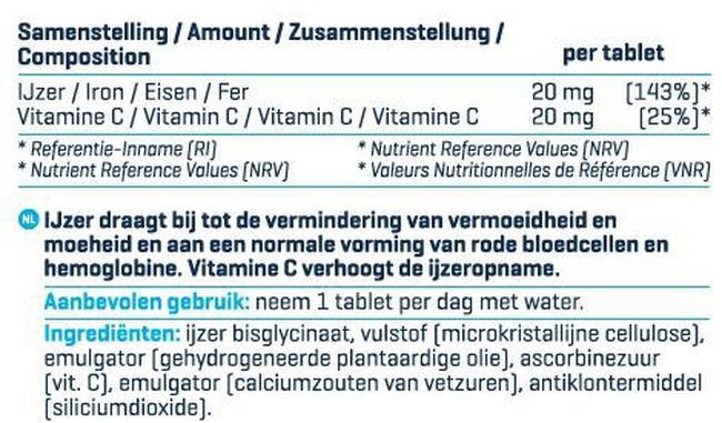 IJzer & vitamine C Nutritional Information 1