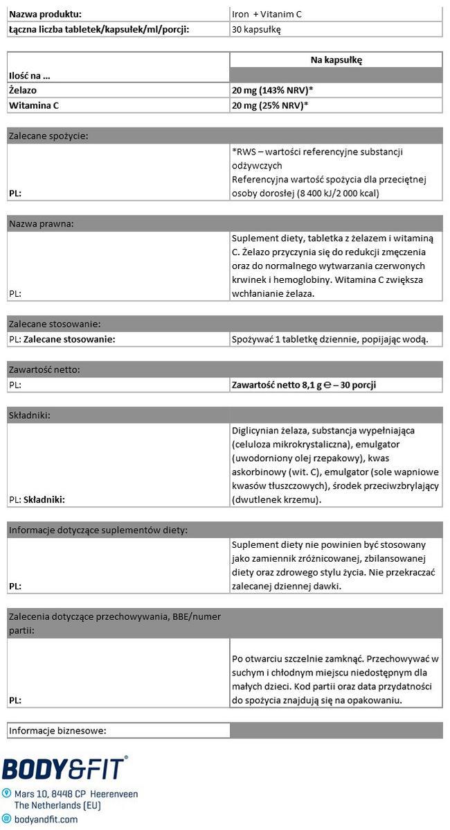Żelazo i witamina C Nutritional Information 1