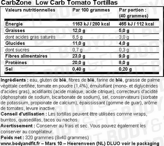 Low Carb Tomato Tortillas Nutritional Information 1