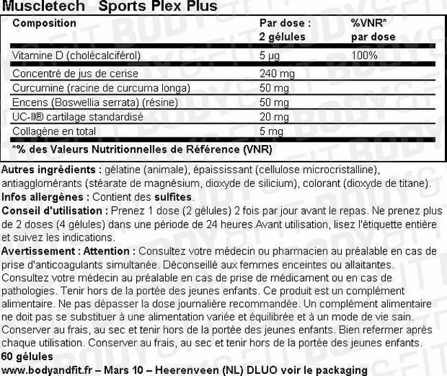 Sport Plex Plus Nutritional Information 1