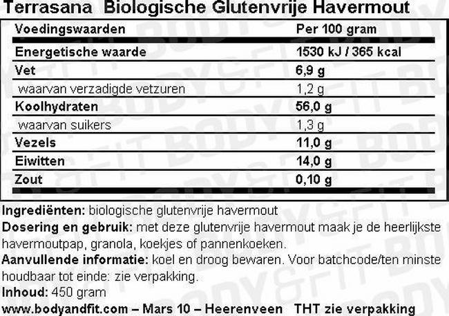 Glutenvrije Havermout Nutritional Information 1