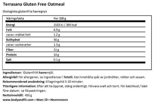 Gluten-free Oatmeal Nutritional Information 1