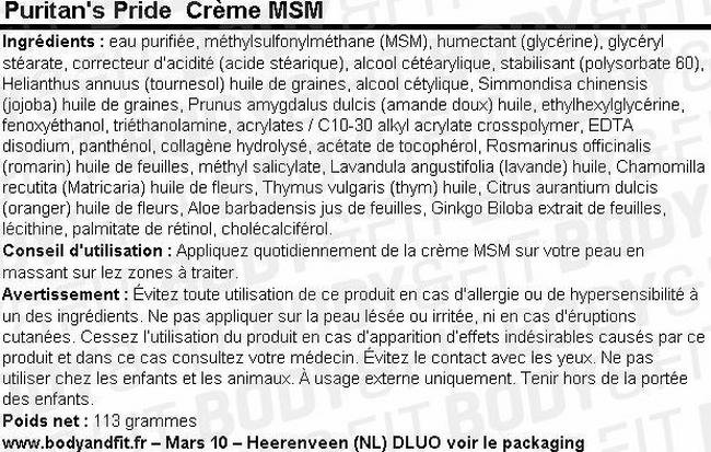 CrèmeMSM Cream Nutritional Information 1