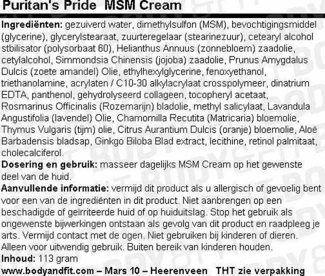 MSM Cream Nutritional Information 1