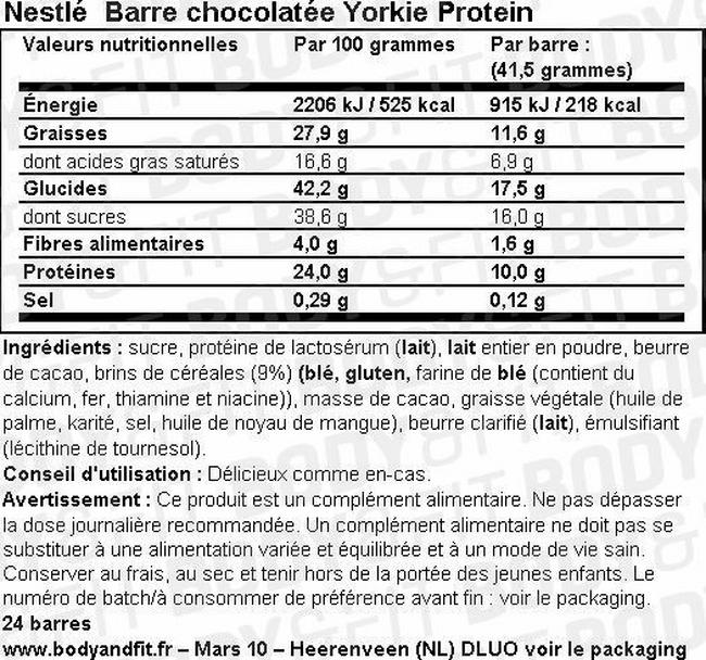 Barre chocolatée Yorkie Protein Chocolate Bar Nutritional Information 1