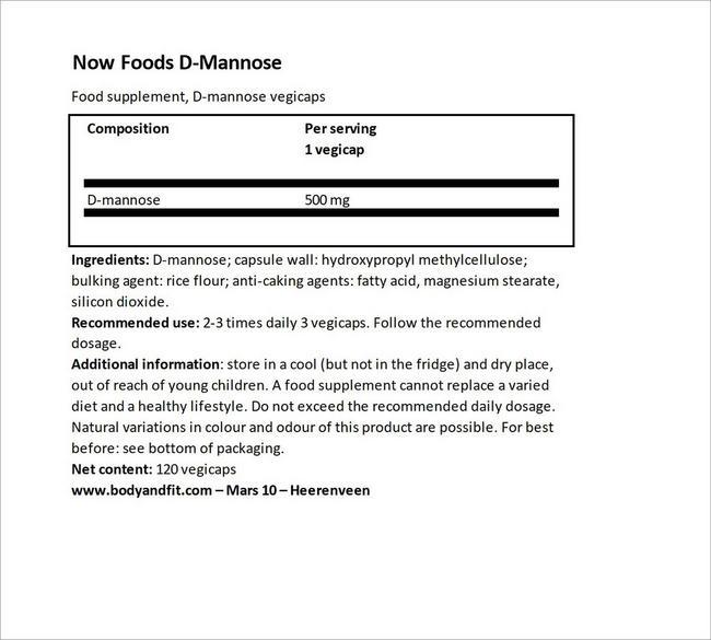D-Mannose Nutritional Information 3