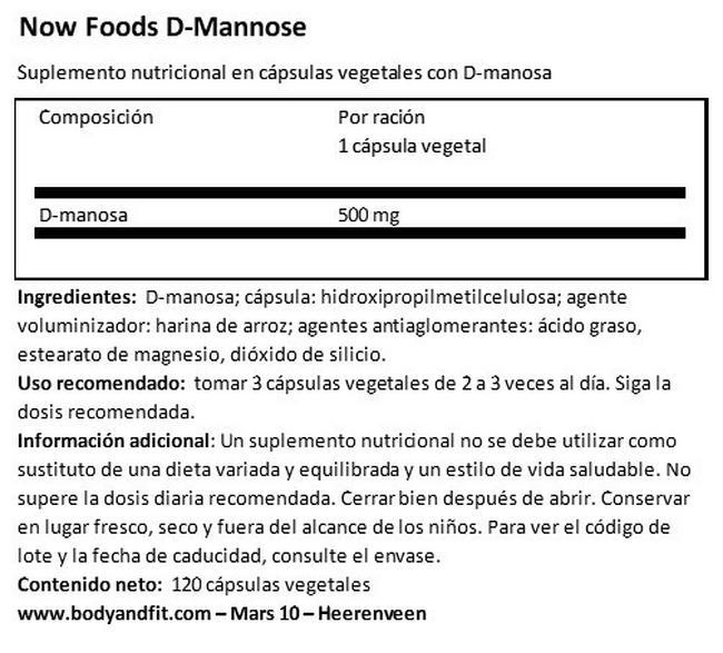 D-Mannose Nutritional Information 1