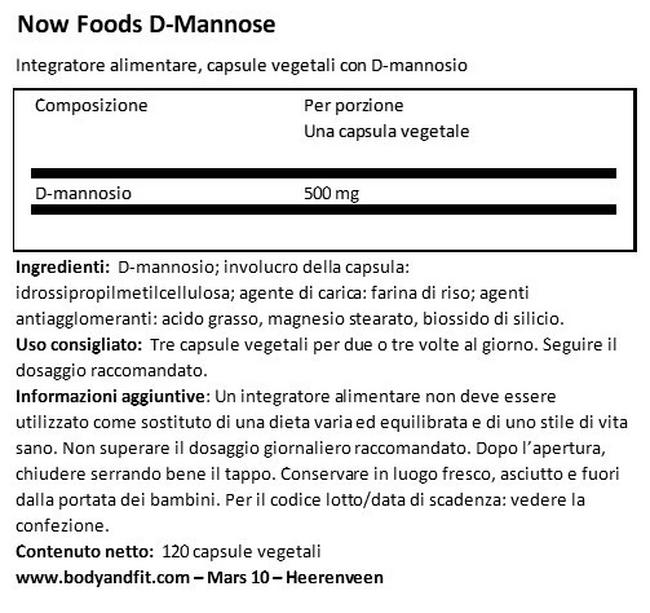 D-Mannose Nutritional Information 1