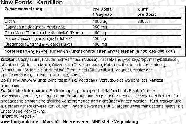 Kandillon Nutritional Information 1