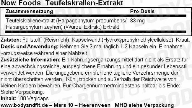 Teufelskrallen-Extrakt Nutritional Information 1
