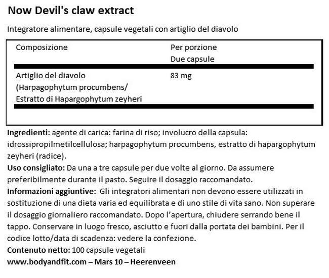 Estratto di Artiglio del Diavolo Nutritional Information 1