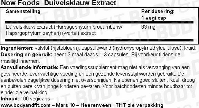 Duivelsklauw Extract Nutritional Information 1