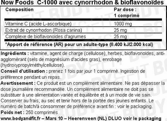C-1000 avec du cynorrhodon et des bioflavonoïdes d'agrumes C-1000 with Rosehips and Citrus Bioflavanoids Nutritional Information 1