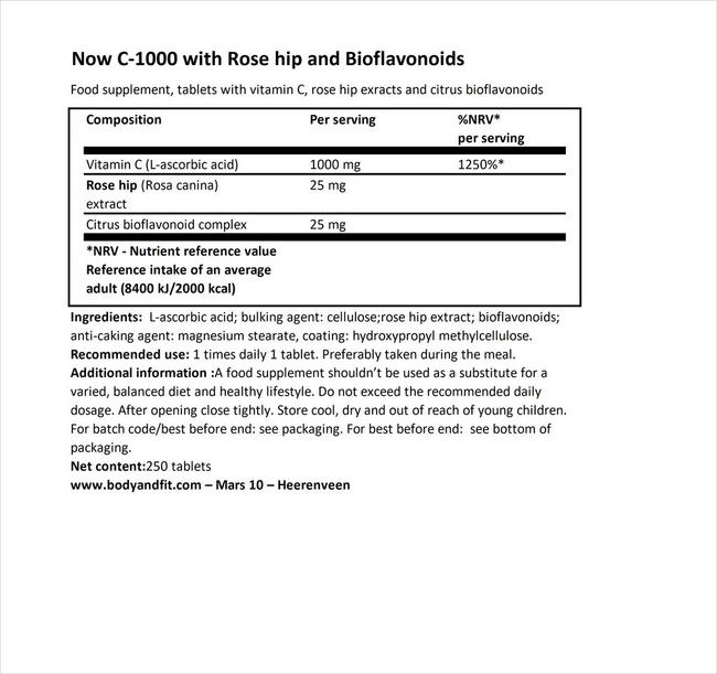 C-1000 ウィズ ローズヒップ アンド シトラス バイオフラバノイド Nutritional Information 1