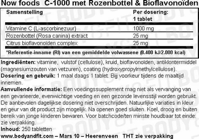 C-1000 met Rozenbottel & Bioflavonoïden Nutritional Information 1