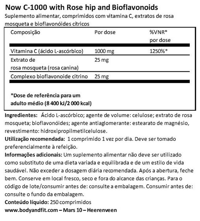 C-1000 with Rosehips and Citrus Bioflavanoids Nutritional Information 1
