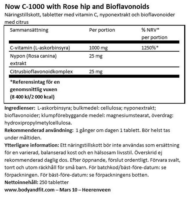 C-1000 with Rosehips & Citrus Bioflavanoids Nutritional Information 1